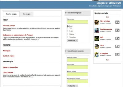 Spiptranet - capture page groupes
