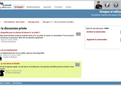 Spiptranet - page messagerie privée